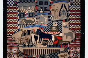 Patchwork bedcover made by James Williams, Wrexham 1842-52, from the British Folk Art exhibition at Tate Britain.