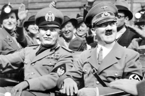 Italy's Duce Benito Mussolini (left) with Germany's Führer Adolf Hitler (right)