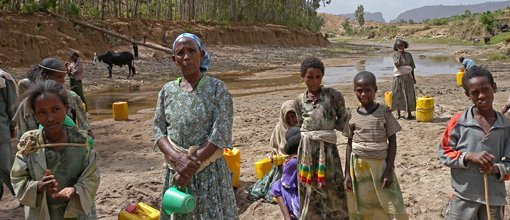 Gathering water in Ethiopia (from website water.org)