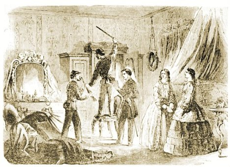 Harper's Weekly's 1861 version of Federal soldiers searching the home of rebellious Southern women for incriminating weapons and letters.