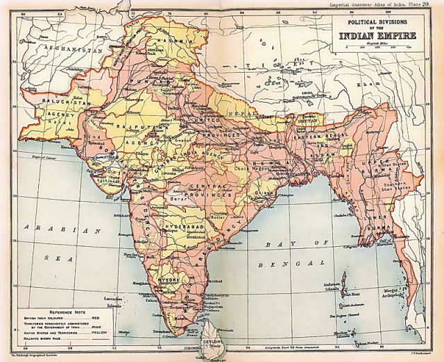 1909 Map of the British Indian Empire, showing British India in two shades of pink and the princely states in yellow, except Nepal and Bhutan.