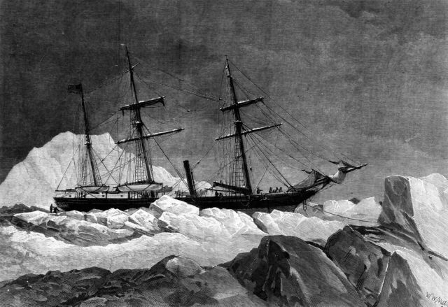 1882 illustration of the U.S.S. Jeanette fighting what will be a losing battle with Arctic ice. (W.W. May, Hulton Archive)