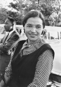 Rosa Parks in 1955, with Martin Luther King,Jr. in the background