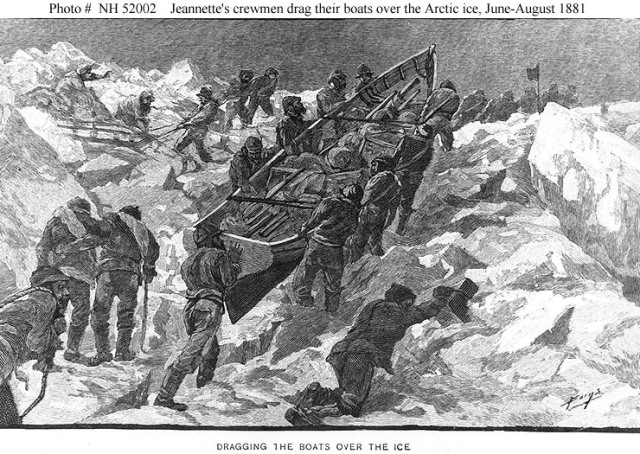 Engraving by George T. Andrew depicting the crew of USS Jeannette hauling the ship's boats over the very rough Arctic ice north of Siberia in June-August 1881.
