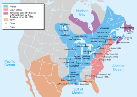 French Louisiana was the name of French-controlled land in North America; this map shows territorial holdings in around 1750.