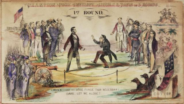 """""""Champion Prize Envelope – Lincoln & Davis in 5 Rounds. 1st Round,"""" J. H. Tingley, New York, NY, 1861 (Gilder Lehrman Collection)"""