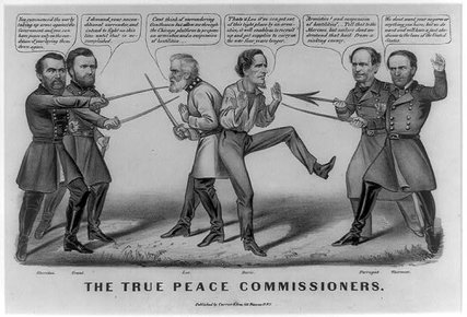 Cartoon showing Robert E. Lee and Jefferson Davis surrounded by Union generals. Library of Congress