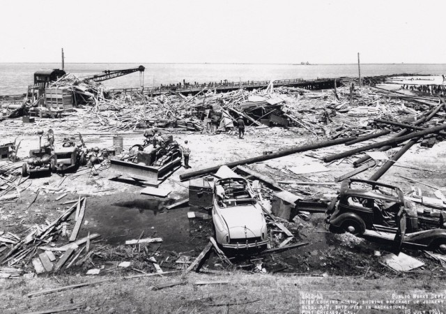 A view of the wreckage at Port Chicago on July 18, 1944. (Port Chicago Naval Magazine National Memorial photo)