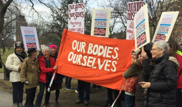 The founders of Our Bodies Ourselves, marching at the Women's March in Boston, 1.21.17