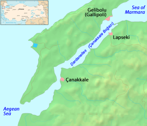 The Dardanelles, a long narrow strait dividing the Balkans (Europe) along the Gallipoli peninsula from Asia Minor