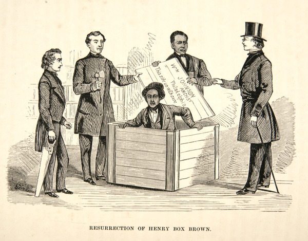 """An illustration of Henry """"Box"""" Brown who, in 1849, escaped from slavery in Richmond, Virginia with the assistance of friends and abolitionists, by having himself shipped  in a crate mailed to Philadelphia."""
