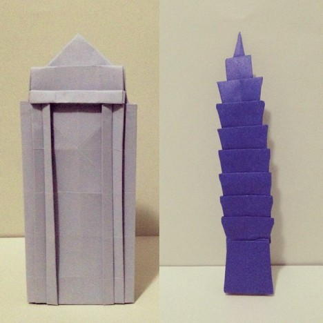 Two projects in the book:  Left: Canary Wharf Tower Right: Taipei 101
