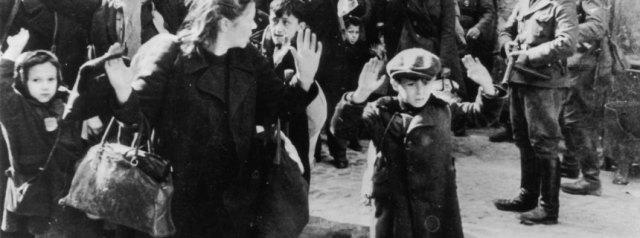 Jews from the Warsaw ghetto surrender to German soldiers after the uprising.   (Photo by Keystone/Getty Images)