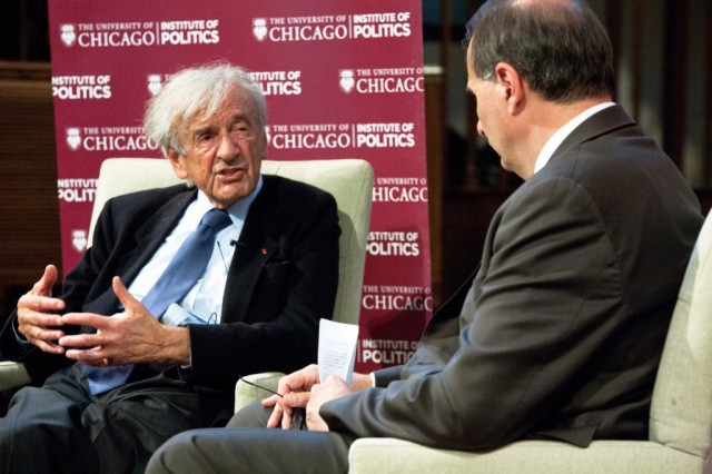 IOP event during which Axelrod interviewed Nobel Peace Prize recipient and holocaust survivor Elie Wiesel