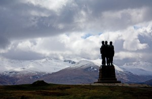 The striking Commando Memorial near Inverness, Scotland dedicated to those who served in WWII