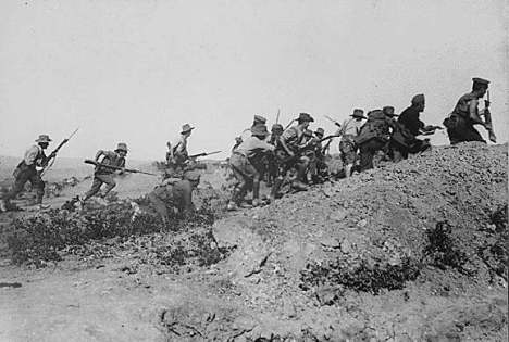 Australian troops charging Turkish trenches at Gallipoli