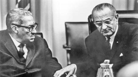 Thurgood Marshall with the president who nominated him to the Supreme Court, Lyndon Johnson