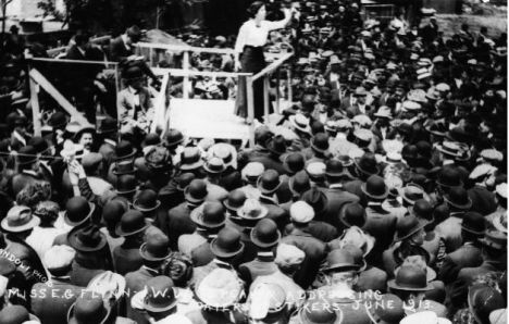 Elizabeth Gurley Flynn addresses a crowd in Patterson, New Jersey in 1913 during the IWW silk strike.