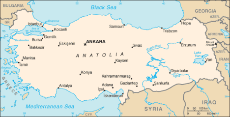 The Dardanelles Strait and Gallipoli Peninsula is at the far upper left of this map, west of the Sea of Marmara.  Alexandretta, today called Iskenderun, is at the bottom middle.