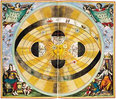 This colorful engraving made by Nicholas Copernicus is from the 17th century and it shows the sun as the center of the universe, not the Earth.
