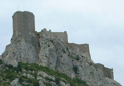 Ruins of a castle on top of a rocky pinnacle in Languedoc-Roussillon that served as a refuge for the besieged Cathars