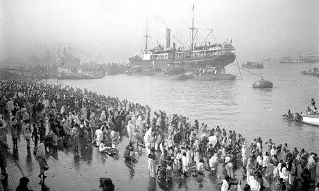 Ships arriving at Chandpal ghat (quay), Kolkata.  Photograph: RCAHMS/PA