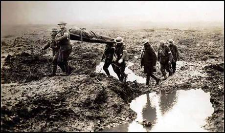 During WWI:  Canadian stretcher bearers in Flanders fields photographed in 1915