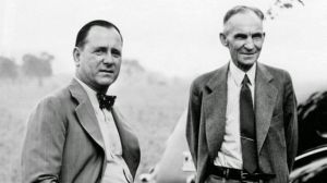 Harry Bennett, left, and Henry Ford