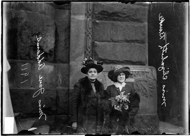 Delegation to the Women's Suffrage Legislature Jane Addams (left) and Miss Elizabeth Burke of the University of Chicago, 1911