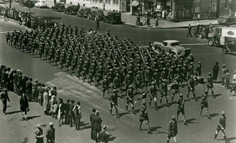 The 369th Infantry Regiment marching up Fifth Avenue, 1919. Photo courtesy Schomburg Center for Research in Black Culture