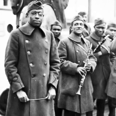 James Reese Europe with bandmembers. Photo courtesy of The National Archives.