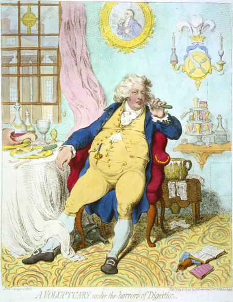 Political cartoon from the era by James Gillray showing the prince regent as a voluptuary and glutton.