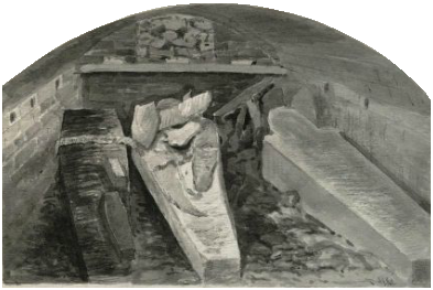 Coffins of King Henry VIII (centre, damaged), Queen Jane (right), King Charles I with a child of Queen Anne (left), vault under the choir, St George's Chapel, Windsor Castle, marked by a stone slab in the floor. 1888 sketch by Alfred Young Nutt, Surveyor to the Dean and Canons