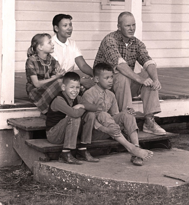 Mildred and Richard Loving with their three children on the front porch of their Virginia home in the late 1960's.