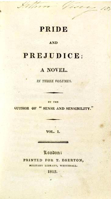 Pride and Prejudice cover page from the 1st edition