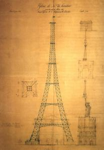 The first sketch of the proposed tower made by Maurice Koechlin in 1884