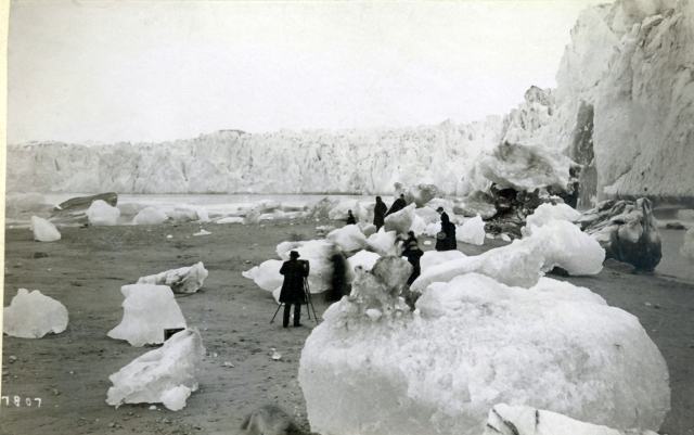 Alaskan exploration team, 1807, U.S. Geological Survey.  See more pictures at https://www2.usgs.gov/climate_landuse/glaciers/repeat_photography.asp