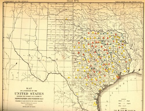 "The Texas ""Newspaper Frontier"" as it appeared in 1880"