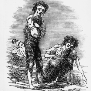 1846 illustration showing a starving boy and girl raking the ground for potatoes during the Irish Potato Famine