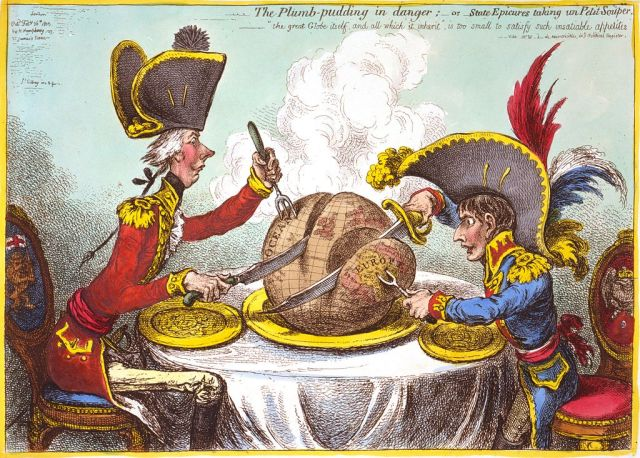 The world being carved up into spheres of influence between Pitt and Napoleon — one of the  most famous political cartoons of all time