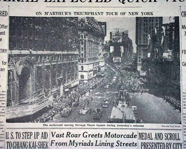 New York Times, April 21, 1951 showing the ticker tape parade for Douglas MacArthur