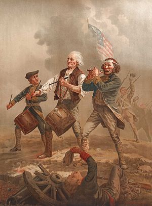 The Spirit of '76, originally entitled Yankee Doodle, painted by Archibald Willard in the late nineteenth century, an iconic image relating to the patriotic sentiment surrounding the American Revolutionary War